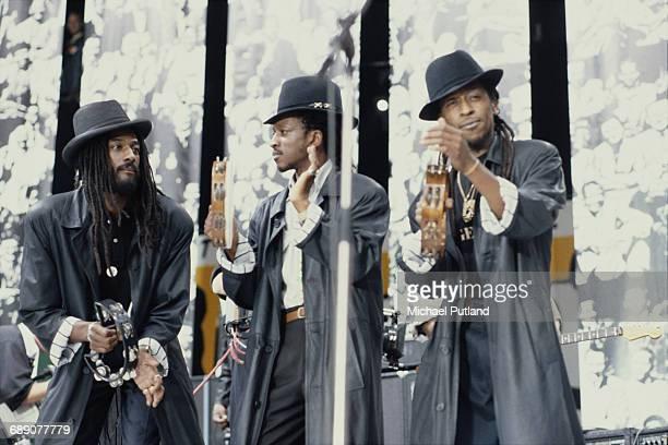 British reggae group Aswad performing at the Nelson Mandela 70th Birthday Tribute Wembley Stadium London 11th June 1988 Left to right Drummie Zeb...