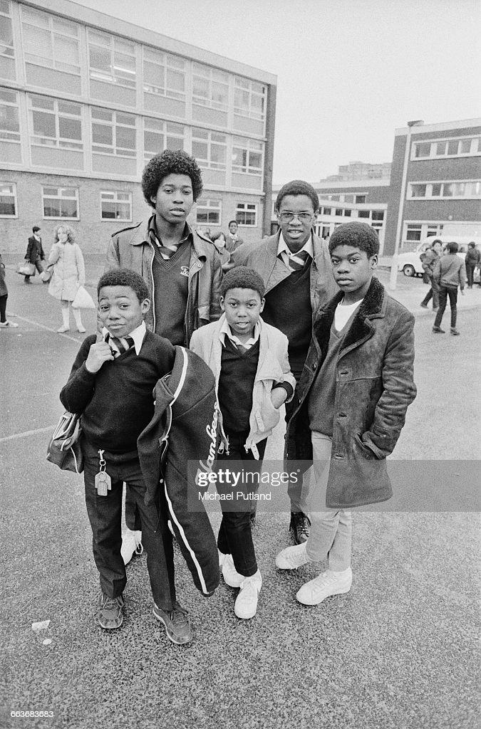 British reggae group Musical Youth at their school Duddeston Manor School Birmingham UK 1982 Clockwise from front left guitarist Kelvin Grant drummer...