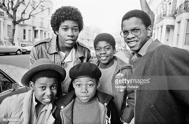 British reggae group Musical Youth Birmingham UK 1982 Clockwise from bottom left keyboard player Michael Grant drummer Freddie 'Junior' Waite bassist...