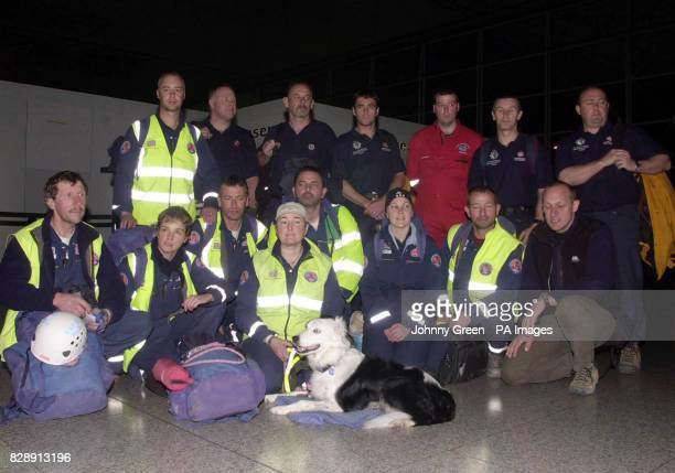 British rescueworkers including members of Rapid UK with their team leader John Holland at Stansted Airport in the early hours The rescue workers...