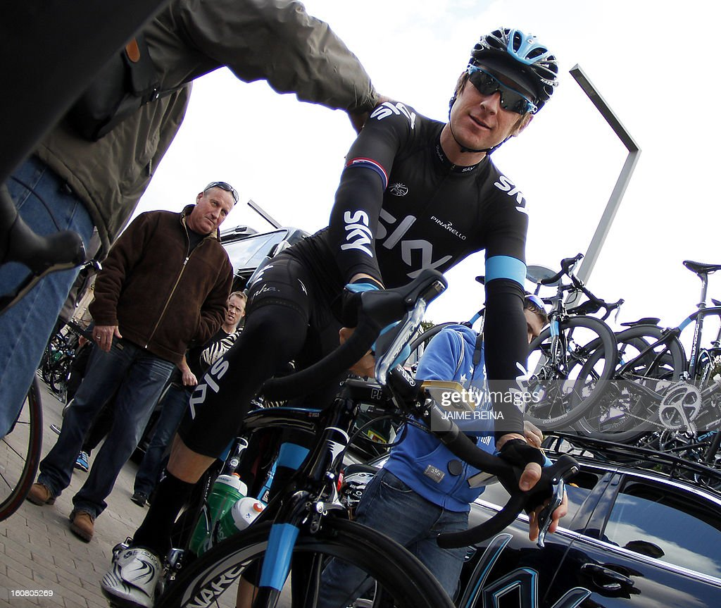 British rider Bradley Wiggins of Team Sky prepares to compete in the last stage of the 22nd Mallorca Challenge from Alcudia to Playa de Muro on February 6, 2013.