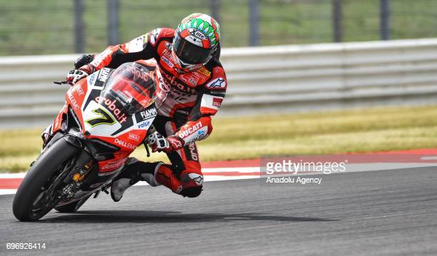 British rider Chaz Davies of Aruba racing for Ducati competes during the race 1 of 2017 FIM World Superbike Championships at the world circuit...