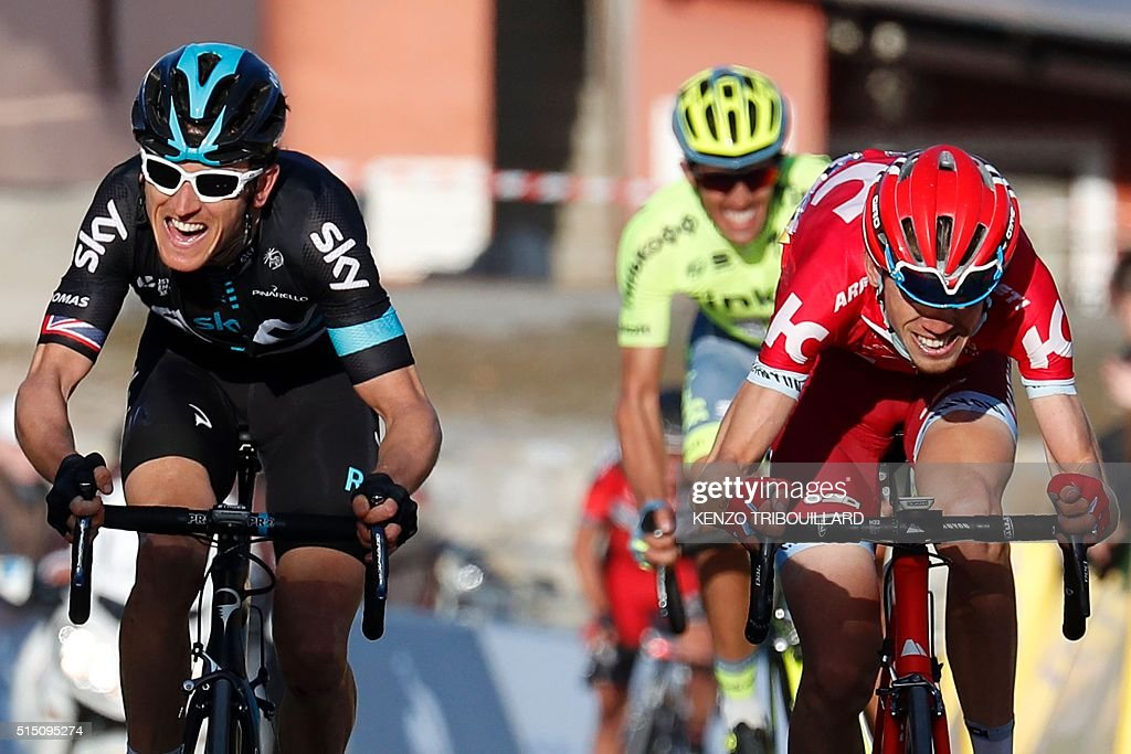 British rider Geraint Thomas and Russian Ilnur Zakarin sprint at the end of the sixth stage of the 74th edition of the ParisNice cycling race between...