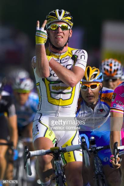 British rider Mark Cavendish of the ColumbiaHTC team celebrates after winning the second stage of the UCI protour Tour de Romandie cycling race on...