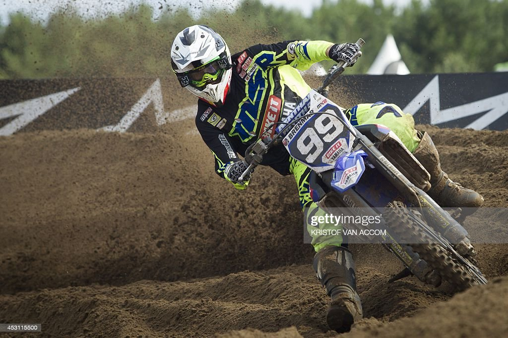 British rider Max Anstie competes during the motocross MX2 Belgian Grand Prix, on August 3, 2014, in Lommel. AFP PHOTO / BELGA / KRISTOF VAN ACCOM