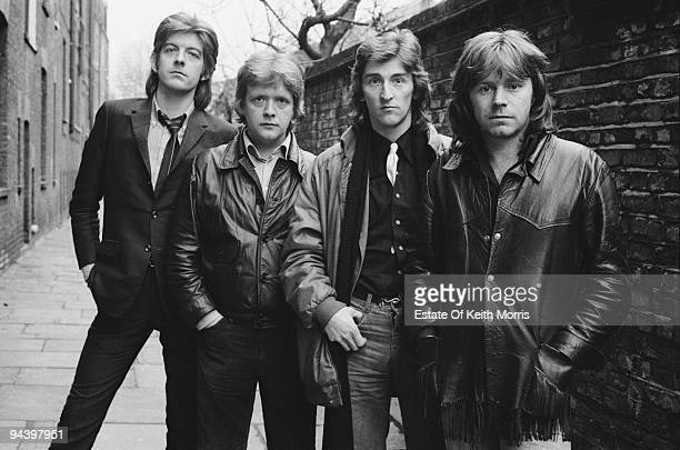 British rock and roll group Rockpile 1977 From left to right they are Nick Lowe Billy Bremner Terry Williams and Dave Edmunds