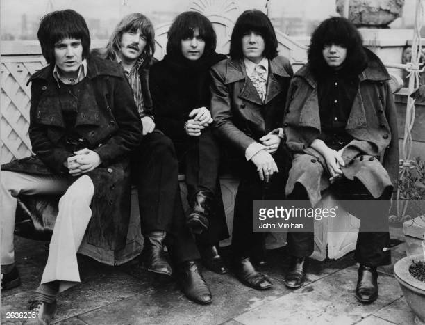 British rock band Deep Purple on the roof of the Dorchester Hotel London from left to right Ron Evans Jon Lord Ritchie Blackmore Nicky Simper and Ian...