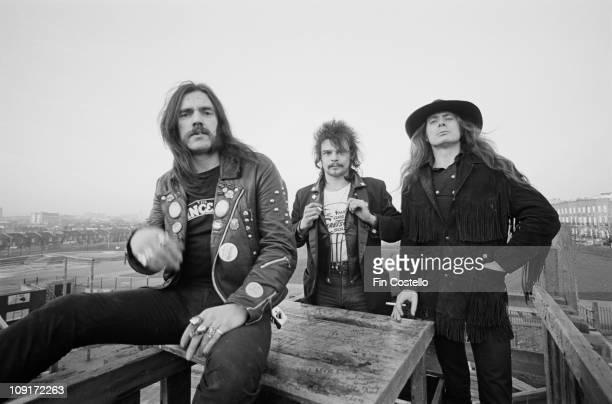 British rock band Motorhead posed in Islington London in December 1980 LR Lemmy Kilmister Phil 'Philthy Animal' Taylor 'Fast' Eddie Clarke