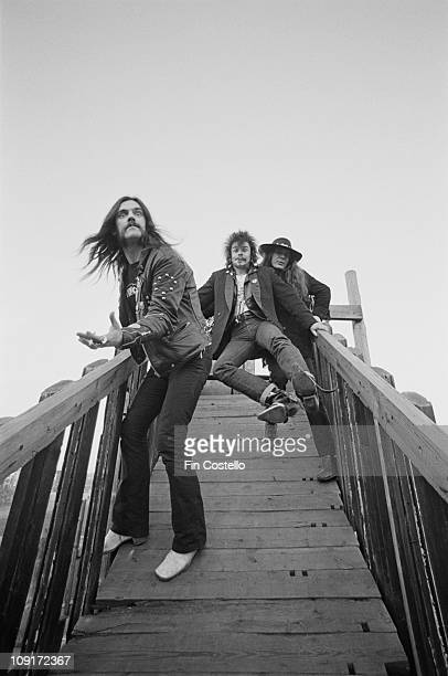 British rock band Motorhead posed on a playground ramp in Islington London in December 1980 LR Lemmy Kilmister Phil 'Philthy Animal' Taylor 'Fast'...
