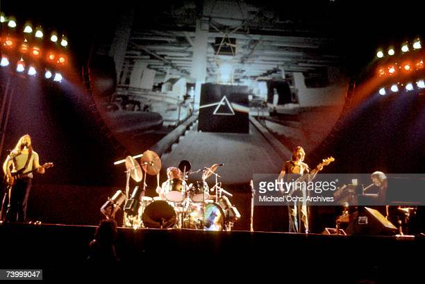 British rock band Pink Floyd LR David Gilmour Nick Mason Roger Waters and Rick Wright perform live at the Los Angeles Memorial Sports Arena in April...