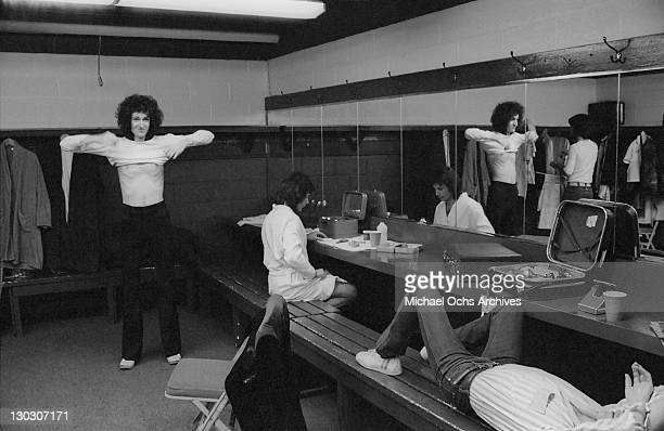 British rock band Queen backstage during the band's US tour January 1977
