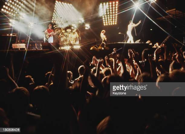 British rock band Queen in concert at Leeds Football Club UK 29th May 1982