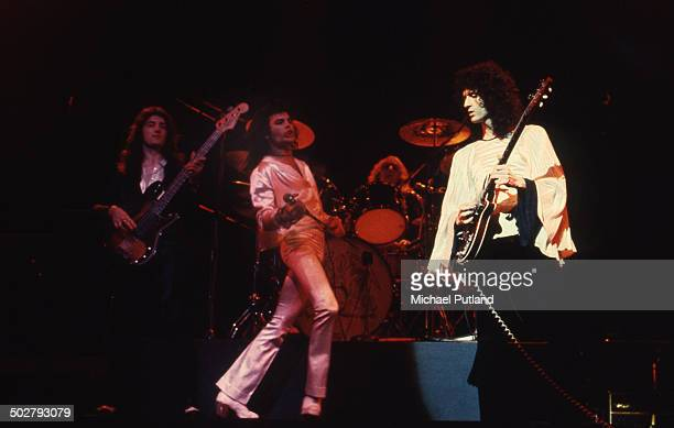 British rock band Queen in concert in London UK 1974