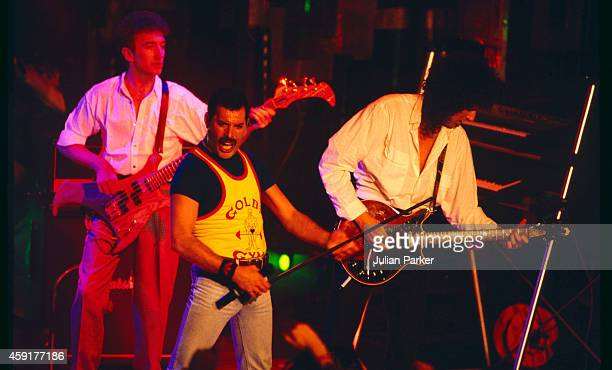 British Rock Band Queen John Deacon Freddie Mercury and Brian May perform at The Montreux Rock Festival in Montreux Switzerland on May 11 1986 in...