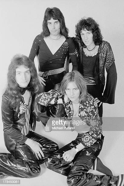 British rock band Queen London 1973 Clockwise from bottom left bassist John Deacon singer Freddie Mercury guitarist Brian May and drummer Roger Taylor