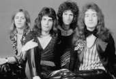 British rock band Queen London 1973 Left to right drummer Roger Taylor singer Freddie Mercury guitarist Brian May and bassist John Deacon