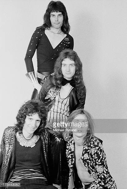 British rock band Queen London 1973 Left to right guitarist Brian May singer Freddie Mercury bassist John Deacon and drummer Roger Taylor