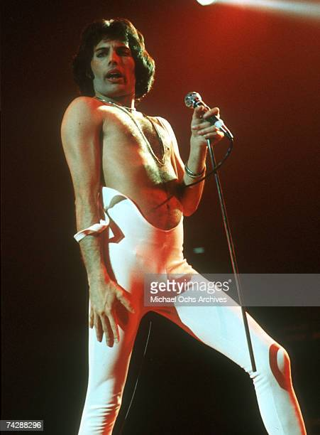Photo of singer Freddie Mercury from rock band Queen