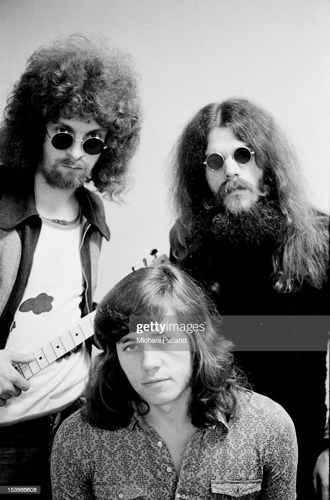 British rock band The Move appear on Top of the Pops, London, 13th October 1971. From left to right, they are Jeff Lynne, Bev Bevan and Roy Wood.