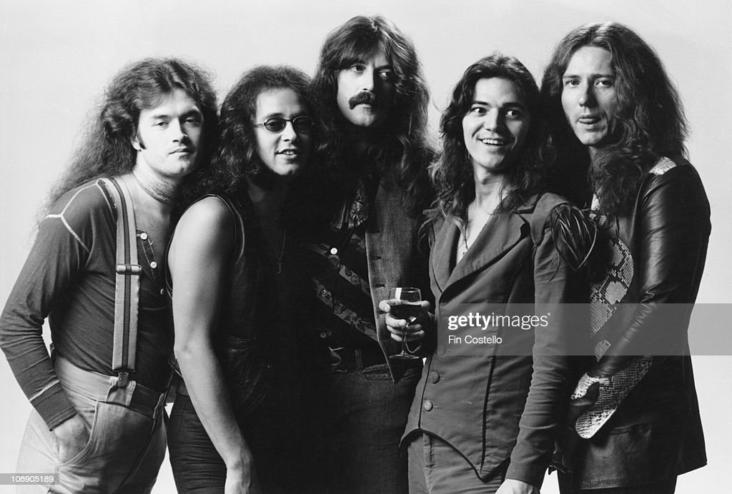 British rock group Deep Purple, 1976. Left to right: bassist Glenn Hughes, drummer Ian Paice, keyboard player Jon Lord, guitarist Tommy Bolin (1951 - 1976) and singer David Coverdale.