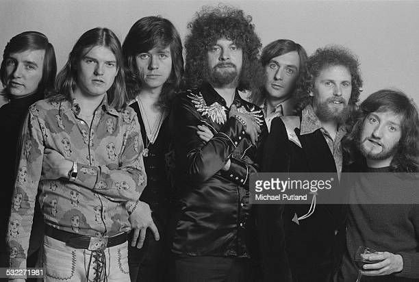 British rock group Electric Light Orchestra 5th February 1975 Left to right cellist Melvyn Gale cellist Hugh McDowell singer and drummer Bev Bevan...