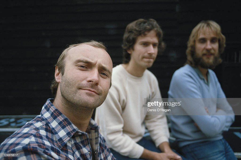 British rock group Genesis, during their 1992 World Tour. Left to right: singer and drummer Phil Collins, keyboard player Tony Banks and guitarist Mike Rutherford.
