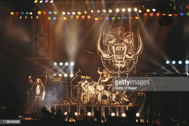 British rock group Motorhead performing on stage circa 1980 Left to right bassist and singer Lemmy drummer Phil 'Philthy Animal' Taylor and guitarist...