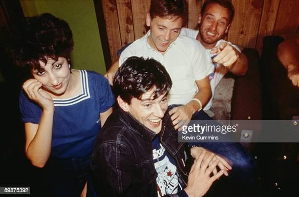 British rock group New Order New York July 1983 Left to right keyboard player Gillian Gilbert drummer Stephen Morris singer/guitarist Bernard Sumner...