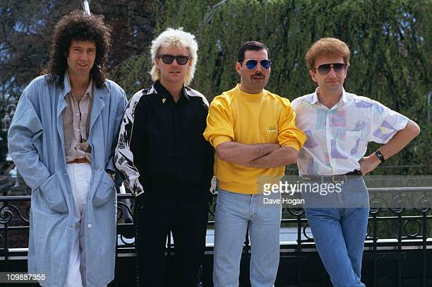 British rock group Queen at the Montreux Rock Festival in Switzerland May 1986 Left to right guitarist Brian May drummer Roger Taylor singer reddie...