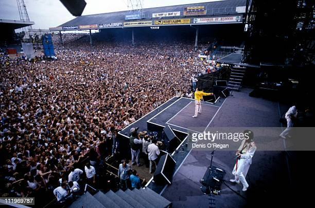 British rock group Queen performing on stage at Maine Road football stadium Manchester 1986