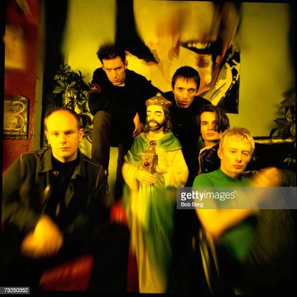 British rock group Radiohead drummer Phil Selway singer/guitarist Ed O'Brien bassist Colin Greenwood guitarist Jonny Greenwood and lead singer Thom...