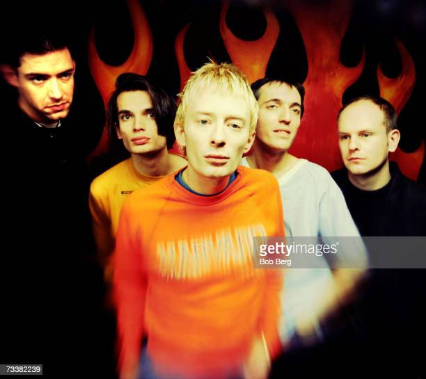 British rock group Radiohead singer/guitarist Ed O'Brien guitarist Jonny Greenwood lead singer Thom Yorke bassist Colin Greenwood and drummer Phil...