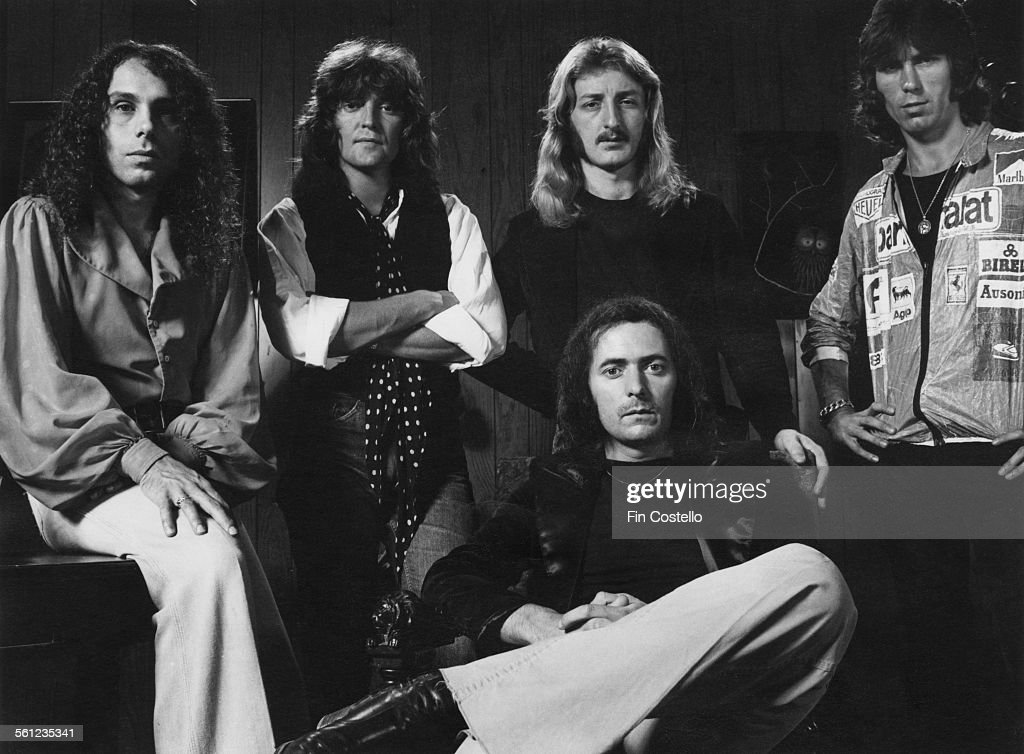 British rock group Rainbow, 1977. Left to right: singer Ronnie James Dio (1942 - 2010), bassist Bob Daisley, keyboard player David Stone, guitarist and songwriter Ritchie Blackmore (front) and drummer Cozy Powell.
