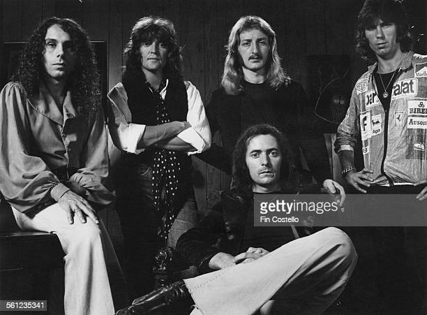 British rock group Rainbow 1977 Left to right singer Ronnie James Dio bassist Bob Daisley keyboard player David Stone guitarist and songwriter...
