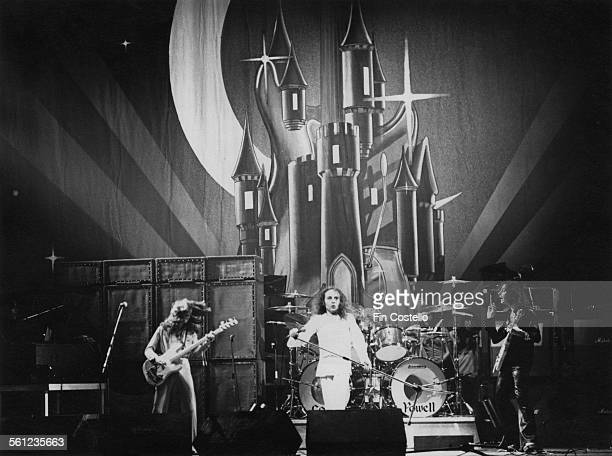 British rock group Rainbow performing on stage at the Ford Auditorium in Detroit Michigan 21st November 1975 Left to right Jimmy Bain Ronnie James...