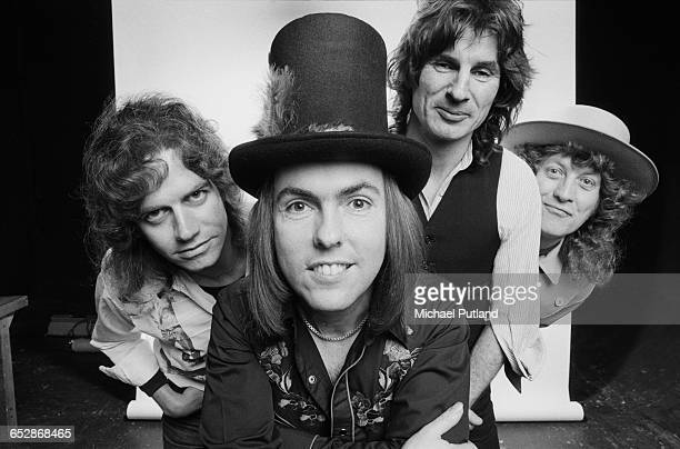 British rock group Slade 1981 Left to right bassist Jim Lea guitarist Dave Hill drummer Don Powell and singer Noddy Holder