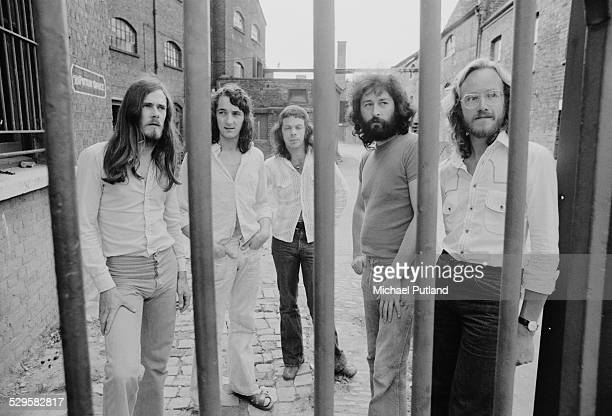 British rock group Supertramp July 1974 Left to right bassist Dougie Thomson singer and guitarist Roger Hodgson drummer Bob Siebenberg singer and...