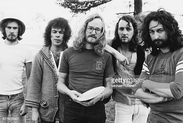 British rock group Supertramp USA 11th May 1977 Left to right bassist Dougie Thomson drummer Bob Siebenberg saxophonist John Helliwell singer and...