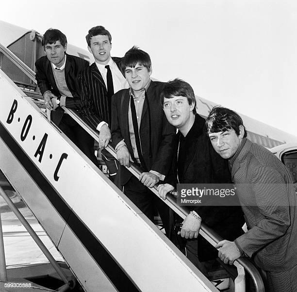 British rock group The Animals leaving London airport for Tel Aviv Left to right Hilton Valentine John Steel Alan Price Chas Chandler and Eric Burdon...