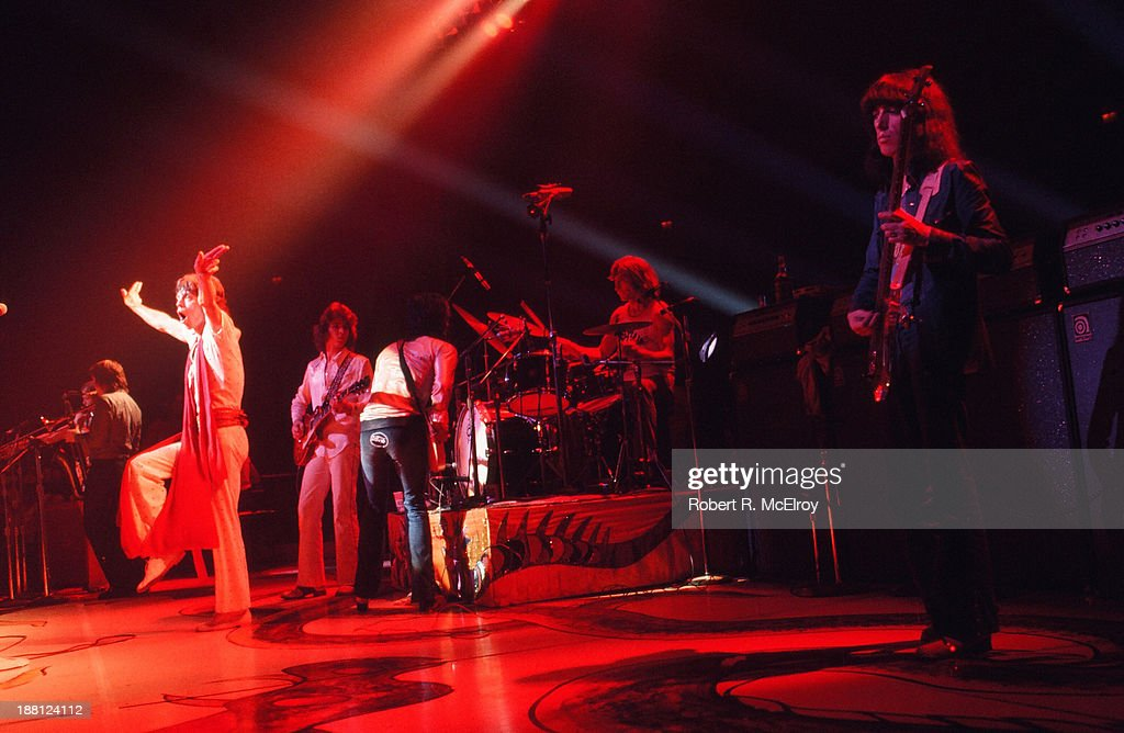 British rock group the Rolling Stones perform onstage at Madison Square Garden as part of their STP Tour New York New York July 26 1972 Pictured from...