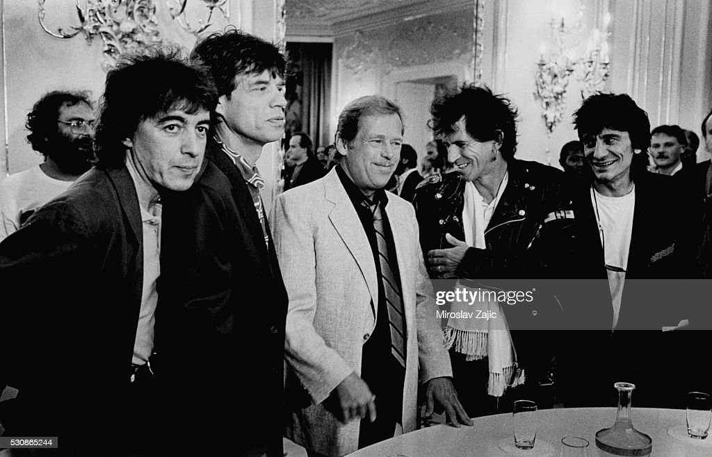 British rock group the Rolling Stones visiting the Czechoslovak President <a gi-track='captionPersonalityLinkClicked' href=/galleries/search?phrase=Vaclav+Havel&family=editorial&specificpeople=202931 ng-click='$event.stopPropagation()'>Vaclav Havel</a> in Prague Castle.