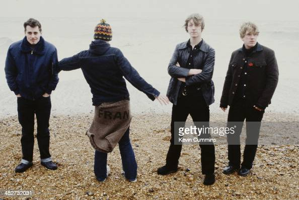 British rock group Travis Brighton beach circa 1995 Left to right drummer Neil Primrose singer Fran Healy bassist Dougie Payne and guitarist Andy...