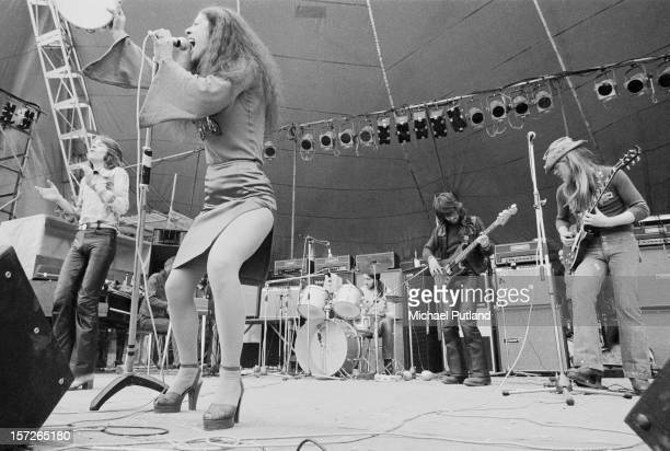 British rock group Vinegar Joe performing at the Great Western Express Lincoln Festival Bardney Lincolnshire 29th May 1972 Left to right Robert...