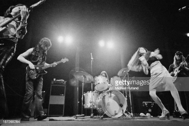 British rock group Vinegar Joe performing at the Roundhouse Camden London 4th May 1972 Left to right Robert Palmer Steve York John Woods Elkie Brooks...