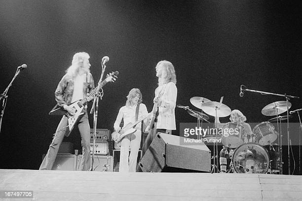British rock group Wishbone Ash performing at the Rainbow Theatre London 11th January 1973 Left to right Andy Powell Martin Turner Ted Turner and...