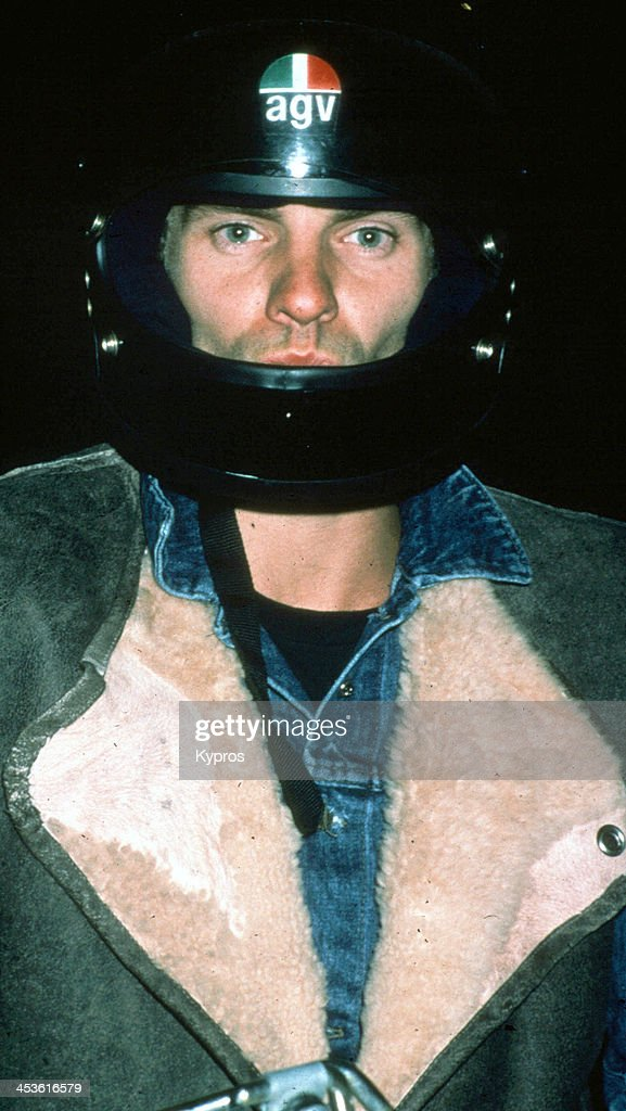 British rock musician and singer <a gi-track='captionPersonalityLinkClicked' href=/galleries/search?phrase=Sting+-+Singer&family=editorial&specificpeople=220192 ng-click='$event.stopPropagation()'>Sting</a> wearing an AGV motorcycle helmet, Hollywood, California, circa 1990.