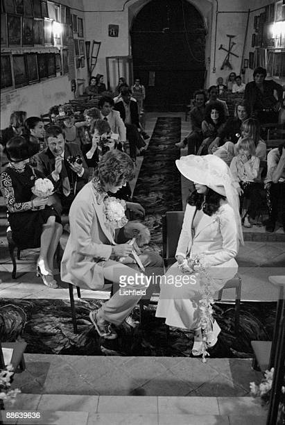 British rock musician Mick Jagger and Nicaraguan model actress and human rights advocate Bianca Perez Morena de Marcias during their Wedding Ceremony...
