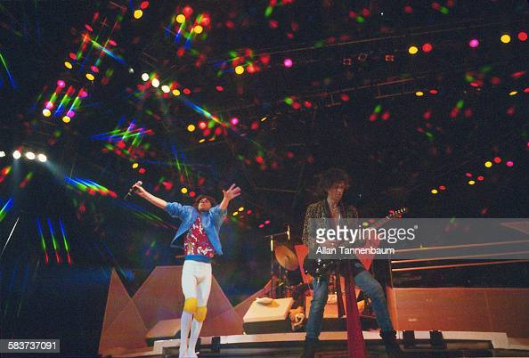 British Rock musicians Mick Jagger Keith Richards both of the group the Rolling Stones perform in concert at Madison Square Garden New York New York...