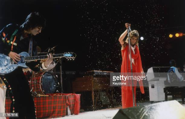 British rock stars Ron Wood and Rod Stewart on stage during a concert by The Faces circa 1974 On the extreme right is keyboard player Ian McLagan