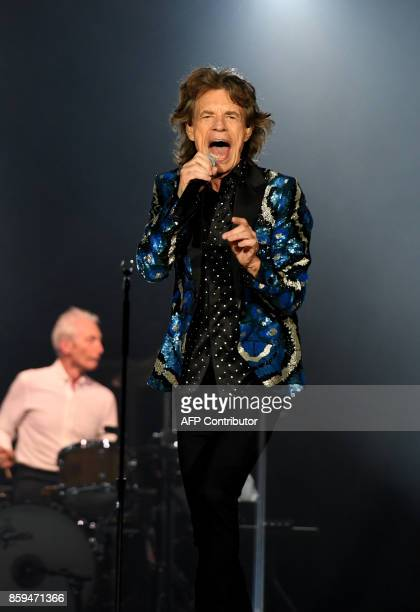 British rockband the Rolling Stones with their singer Mick Jagger perform at the Esprit arena during the Rolling Stones tour 'Stones No Filter' in...